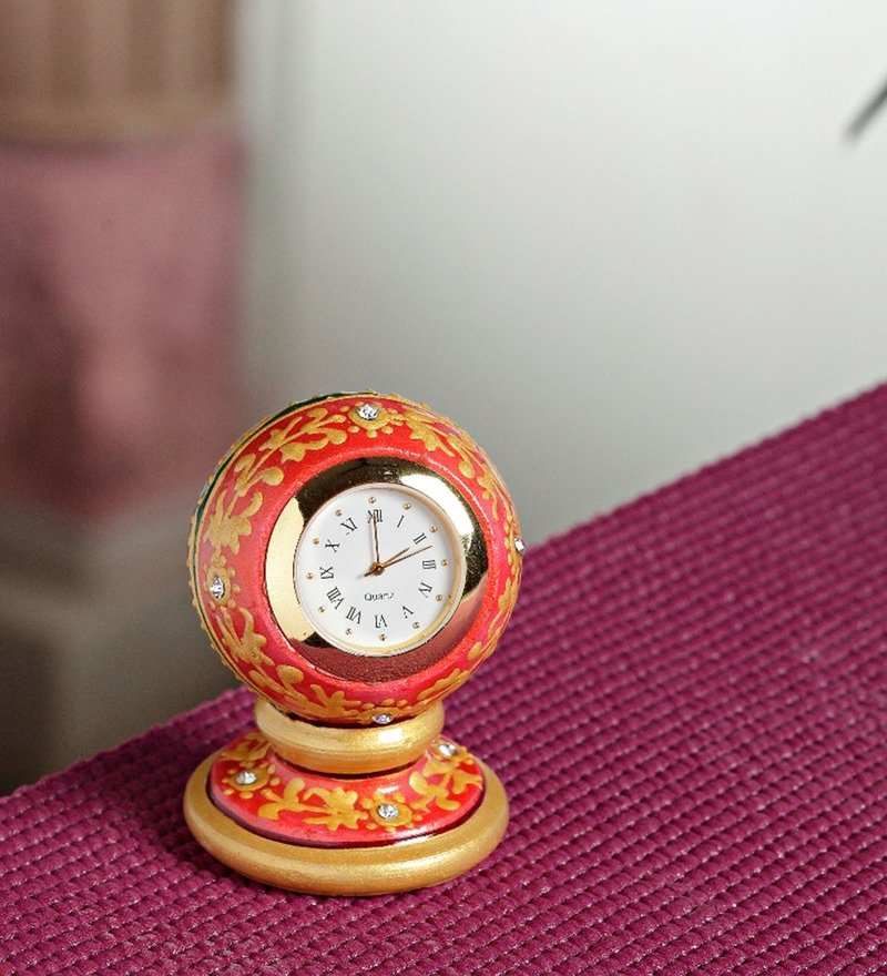 Aapno Rajasthan Orange & Gold Marble Round Table Clock