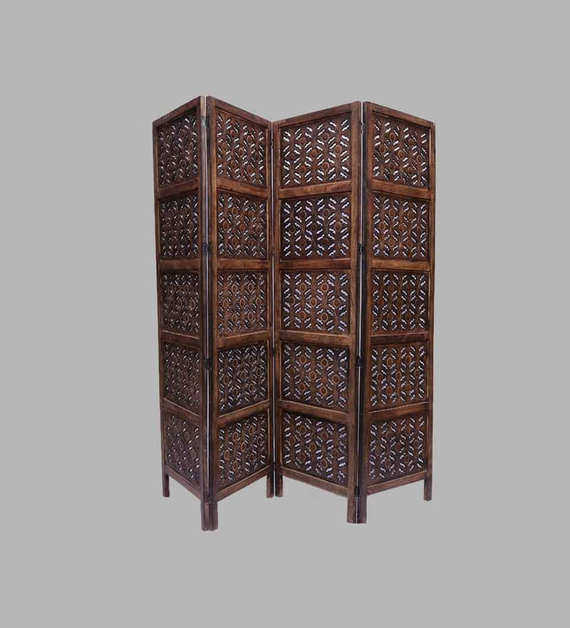 Brown Mango Wood Hand Crafted Partition Screen by Aarsun Woods