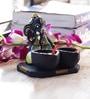 Aapno Rajasthan Black & Green Terracotta Ganesh with Twin Diya Showpiece
