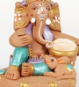 Aapno Rajasthan Brown & Green Terracotta Makhan Ganesh