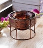 Copper Metal Floating Teal Light Holder by Aapno Rajasthan