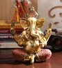 Gold Resin Beautiful Beads Studded Ganesha Showpiece by Aapno Rajasthan
