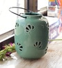 Green Ceramic Hanging Lantern Tea Light Holder by Aapno Rajasthan
