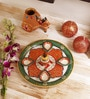 Multicolour Marble Pooja Thali by Aapno Rajasthan