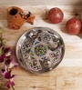 Multicolour Metal Floral Print Pooja Thali by Aapno Rajasthan