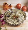 Aapno Rajasthan Multicolour Metal Ganesh & Floral Motifs Pooja Thali