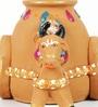 Aapno Rajasthan Multicolour Terracotta Cow & Ganesh Vase