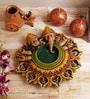 Aapno Rajasthan Multicolour Terracotta Designer Urli Diya Thali