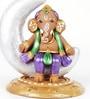 Aapno Rajasthan Multicolour Terracotta Ganesh Sitting on Moon