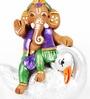 Aapno Rajasthan Multicolour Terracotta Ganesh Sitting on Swan
