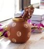 Aapno Rajasthan Multicolour Terracotta Ganesh with Matki Shaped Vase