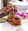 Aapno Rajasthan Multicolour Terracotta Panchmukhi Ganesh with Diya