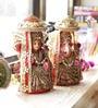 Aapno Rajasthan Multicolour Terracotta Stone Studded Laxmi Ganesh Idol