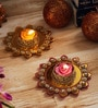 Aapno Rajasthan Multicolour Wax Stone Studded Beautiful Floating Candles - Set of 2