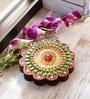 Multicolour Wood & Clay Floral Design Kumkum Chopra by Aapno Rajasthan