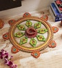 Multicolour Wood & Clay Handmade Traditional Round Diya Thali by Aapno Rajasthan