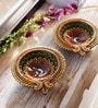 Aapno Rajasthan Orange & Yellow Terracotta Floral Shape Big Earthen Gel Filled Diyas- Set of 2
