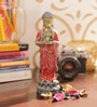 Red & Gold Polyresin Buddha Idol By Aapno Rajasthan