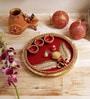 Aapno Rajasthan Red & Gold Wooden Pooja Thali