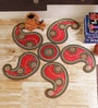 Red & Green Plastic & Acrylic Stunning Paisley Design Rangoli Art Piece by Aapno Rajasthan