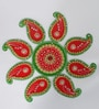 Red & Green Wood & Clay Handmade Floral Floor Rangoli by Aapno Rajasthan