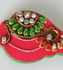 Red & Green Wood & Clay Kundans Shank Kumkum Chopra by Aapno Rajasthan