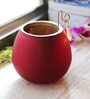 Aapno Rajasthan Red Glass Cut Work Ganapati Tea Light Holder