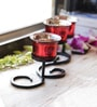 Aapno Rajasthan Red Metal & Glass Beautiful Tea Light Holder with Stand - Set of 3