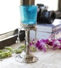 Silver & Blue Metal & Glass Palm Tree Design Candle Holder by Aapno Rajasthan