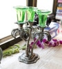 Silver & Green Metal & Glass Palm Tree Design Candle Holder with Glass by Aapno Rajasthan