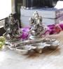 Aapno Rajasthan Silver Metal Laxmi Ganesh with Diya