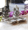 Aapno Rajasthan Silver Metal Silver Finish Laxmi Ganesh Sitting on Lotus