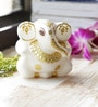 Aapno Rajasthan White & Gold Marble Hand Painted & Stone Studded Contemporary Lord Ganesh