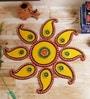 Yellow & Green Wood & Clay Keri Floor Rangoli by Aapno Rajasthan