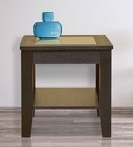 Abby Glass Top Veneer End Table in Dark Brown Colour