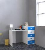 Abby Study Table with Drawers - III in Blue & White Colour