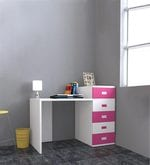 Abby Study Table with Drawers - III in Pink & White Colour