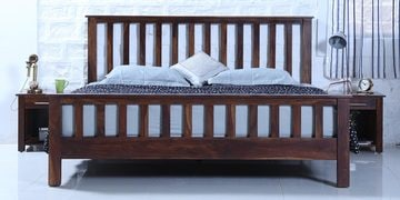 Abbey Queen Bed In Provincial Teak Finish