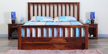 Abbey Queen Bed With Drawer Storage In Honey Oak Finish