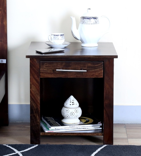 Abbey Solid Wood Bed Side Table In Warm Chestnut Finish By Woodsworth