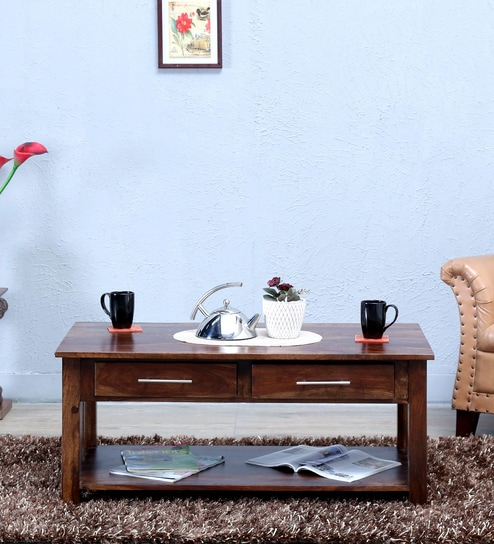Abbey Large Solid Wood Coffee Table In Provincial Teak Finish By Woodsworth