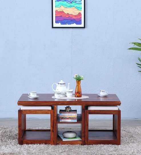Ordinaire Abbey Solid Wood Coffee Table Set With Two Stools In Honey Oak Finish By  Woodsworth