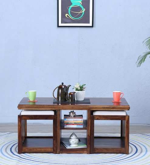 Abbey Coffee Table Set In  Provincial Teak Finish