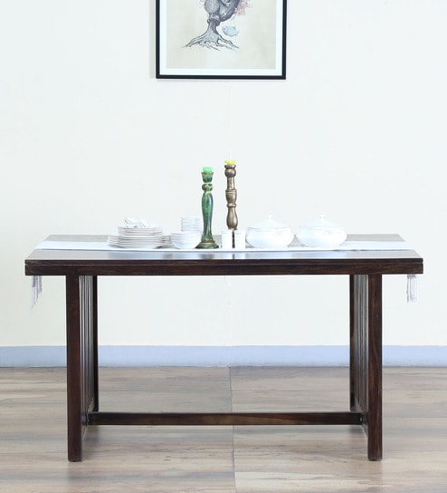 Abbey Six Seater Dining Table In Warm Chestnut Finish
