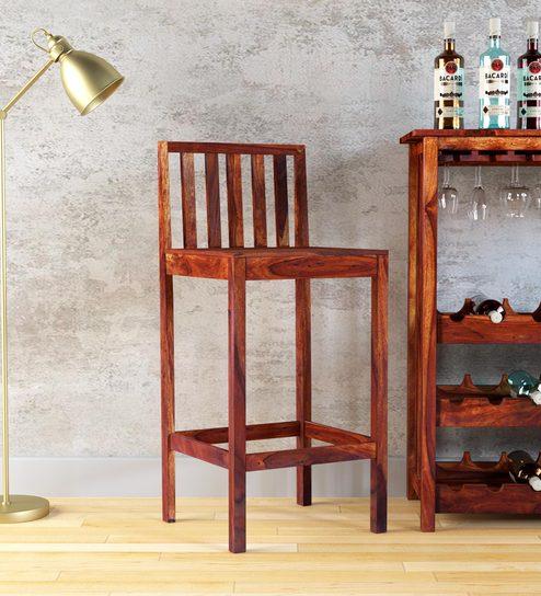 Buy Abbey Solid Wood Bar Stool In Honey Oak Finish By Woodsworth