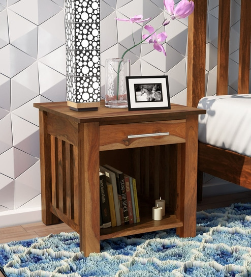 Abbey Solid Wood Bed Side Table in Rustic Teak Finish by Woodsworth