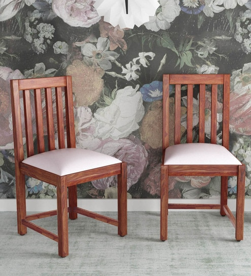 Abbey Solid Wood Dining Chair Set Of 2 In Honey Oak Finish By Woodsworth