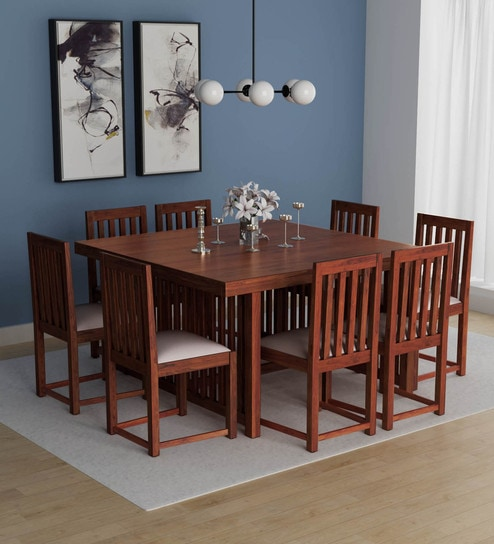 Abbey Solid Wood Eight Seater Dining Set In Honey Oak Finish By Woodsworth