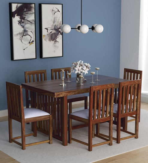 Abbey Solid Wood Six Seater Dining Set In Provincial Teak Finish By  Woodsworth