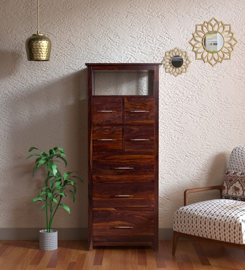 Buy Abbey Tall Solid Wood Chest Of Drawer In Provincial Teak Finish